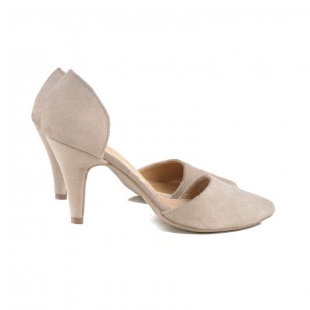 Pantofi stiletto decupati (interior/exterior),realizati din piele intoarsa beige [2]