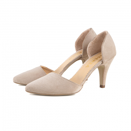 Pantofi stiletto decupati (interior/exterior),realizati din piele intoarsa beige [1]