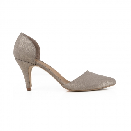 Pantofi stiletto decupati interior/exterior, realizati din piele intoarsa crem glitter [0]