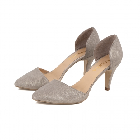 Pantofi stiletto decupati interior/exterior, realizati din piele intoarsa crem glitter [2]