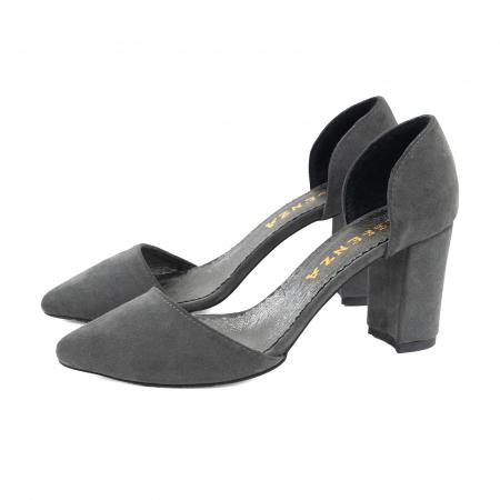 Pantofi stiletto decupati (interior/exterior),realizati din piele intoarsa gri2