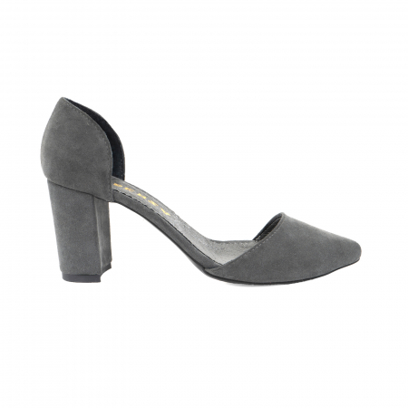 Pantofi stiletto decupati (interior/exterior),realizati din piele intoarsa gri0