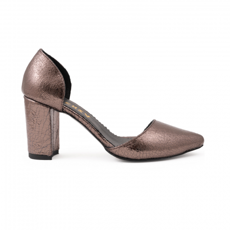 Pantofi stiletto decupati (interior/exterior),realizati din piele laminata bronz crapat0