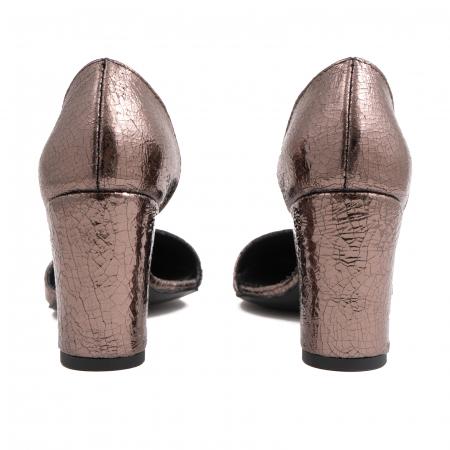 Pantofi stiletto decupati (interior/exterior),realizati din piele laminata bronz crapat4