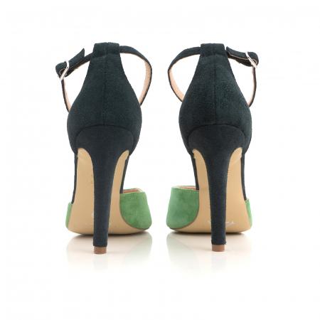 Pantofi stiletto decupati, realizati din piele naturala intoarsa verde inchis si verde menta3