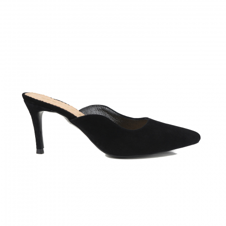 Pantofi stiletto decupati, tip sabot,  din piele intoarsa neagra0