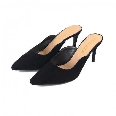 Pantofi stiletto decupati, tip sabot,  din piele intoarsa neagra1