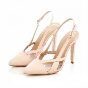 Pantofi stiletto din piele bej si plastic transparent [2]