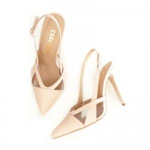 Pantofi stiletto din piele bej si plastic transparent [3]