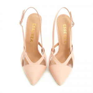 Pantofi stiletto din piele bej si plastic transparent [1]