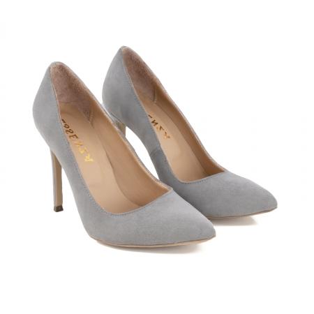 Pantofi Stiletto din piele intoarsa gri [1]