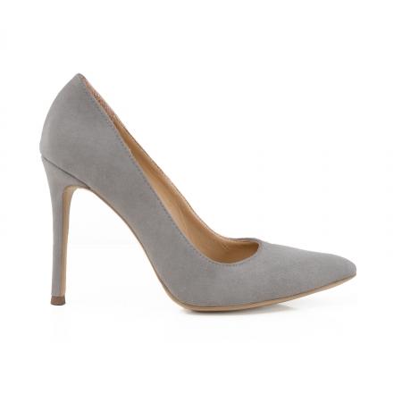 Pantofi Stiletto din piele intoarsa gri [0]
