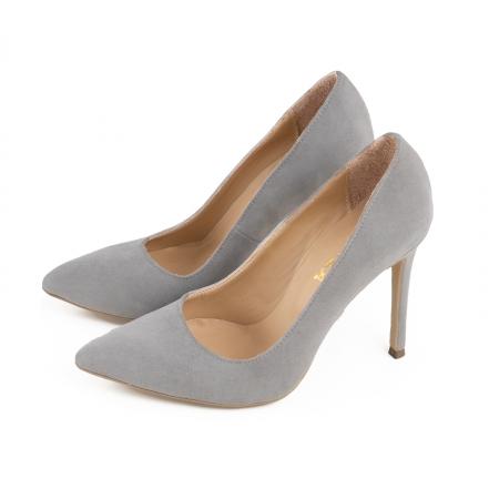 Pantofi Stiletto din piele intoarsa gri [2]