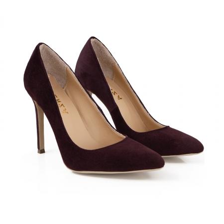 Pantofi Stiletto din piele intoarsa mov2