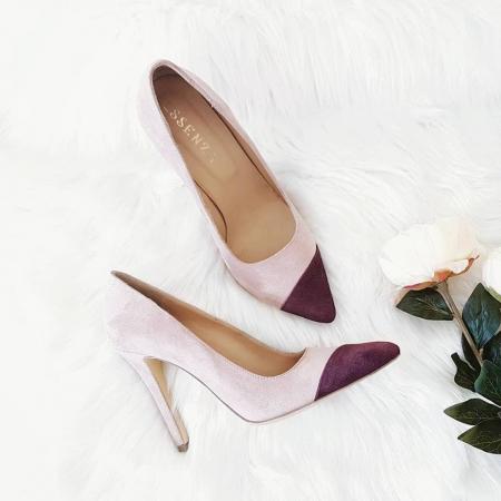 Pantofi stiletto din piele intoarsa roz si visinie3