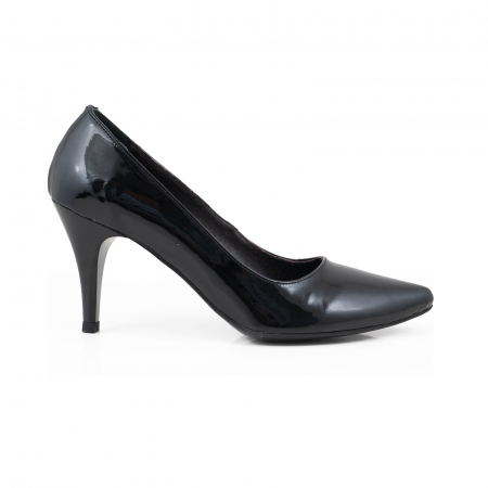 Pantofi stiletto din piele lacuita neagra0