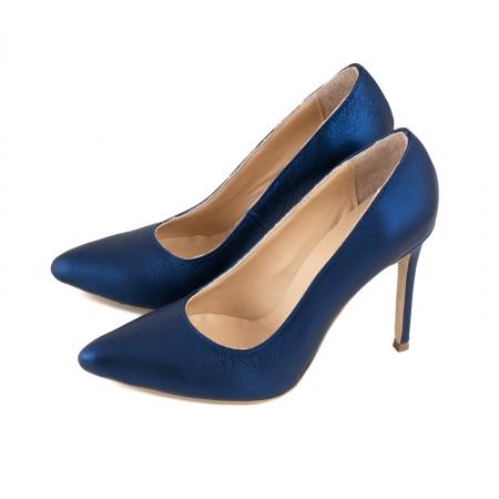 Pantofi Stiletto din piele laminata albastru metalic1