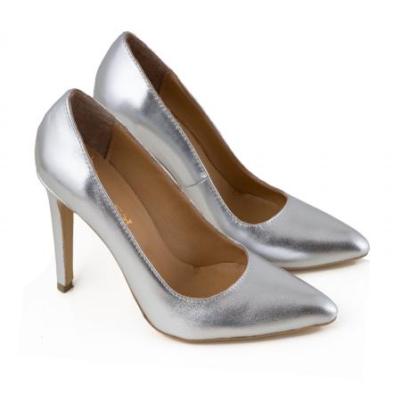 Pantofi Stiletto din piele laminata argintie [1]