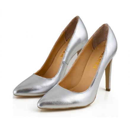 Pantofi Stiletto din piele laminata argintie3