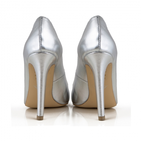 Pantofi Stiletto din piele laminata argintie [2]