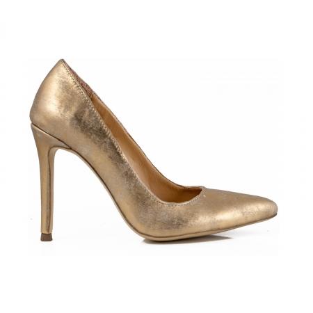Pantofi Stiletto din piele laminata auriu patinat0
