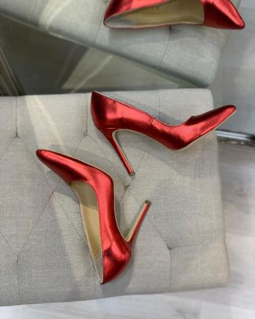 Pantofi Stiletto din piele laminata rosie, cu captusala din piele,si varf ascutit [2]