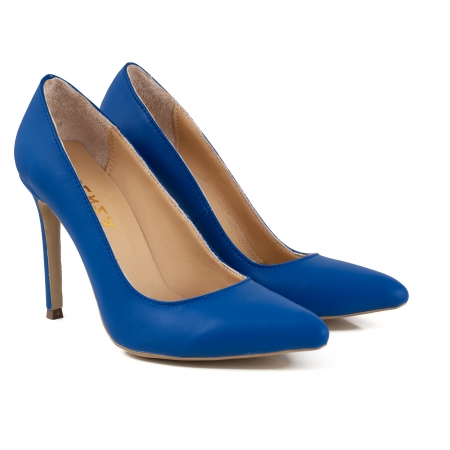 Pantofi Stiletto din piele naturala albastra2