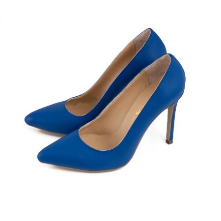 Pantofi Stiletto din piele naturala albastra1