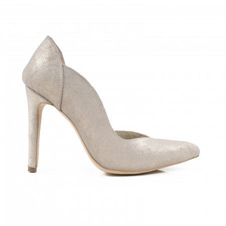 Pantofi stiletto din piele naturala auriu pal glitter0