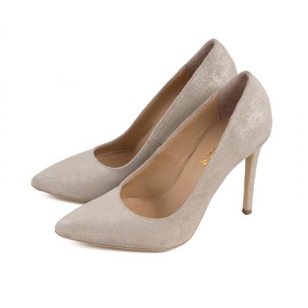 Pantofi Stiletto din piele naturala crem glitter1