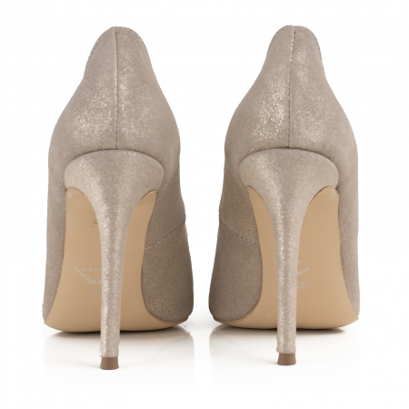 Pantofi Stiletto din piele naturala crem glitter3