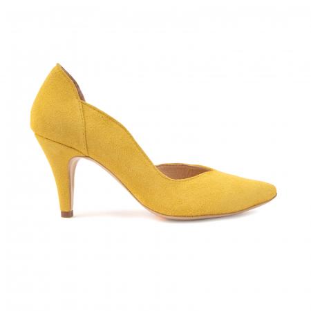 Pantofi stiletto din piele naturala galbena [0]