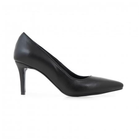 Pantofi stiletto din piele naturala neagra, cu toc de 7 cm [0]