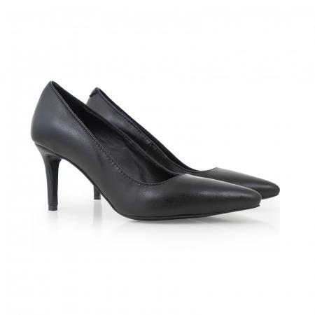 Pantofi stiletto din piele naturala neagra, cu toc de 7 cm [1]
