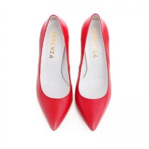 Pantofi Stiletto din piele naturala rosie3