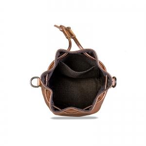 Poseta Kristy mini bucket cu bareta de mana si bareta de umar reglabila, din piele laminata auriu-roze4