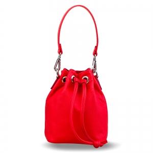 Poseta Kristy mini bucket  din piele naturala rosie0