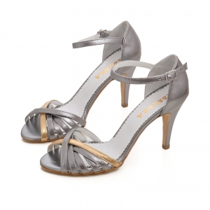 Sandale cu barete din piele argintiu platina2