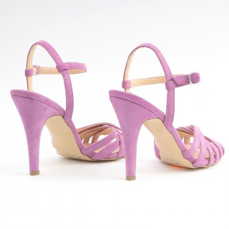 Sandale cu barete, din piele intoarsa roz-lila3