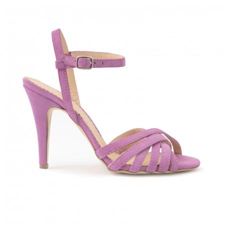 Sandale cu barete, din piele intoarsa roz-lila0