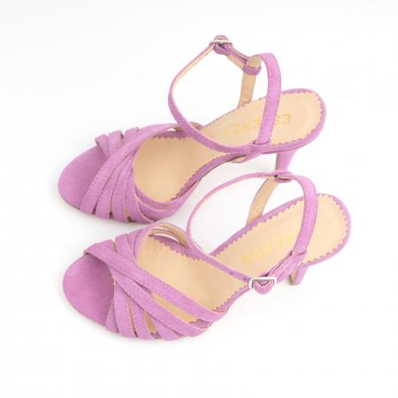 Sandale cu barete, din piele intoarsa roz-lila5