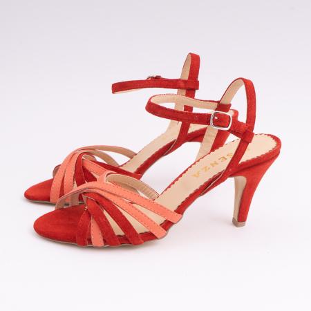 Sandale cu barete, din piele intoarsa rosie si piele corai1