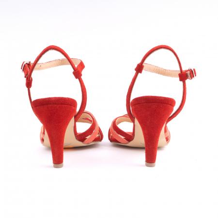 Sandale cu barete, din piele intoarsa rosie si piele corai4