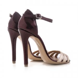 Sandale cu barete, din piele lacuita visinie si piele laminata auriu pal2