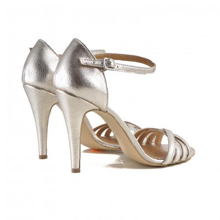 Sandale cu barete din piele laminata auriu-pal [2]