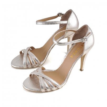 Sandale cu barete din piele laminata auriu-pal [1]