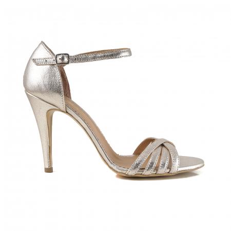 Sandale cu barete din piele laminata auriu-pal [0]