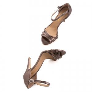 Sandale cu barete, din piele laminata bronz [4]