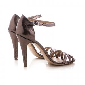 Sandale cu barete, din piele laminata bronz [2]