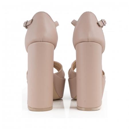 Sandale cu barete, din piele naturala nude-rose2
